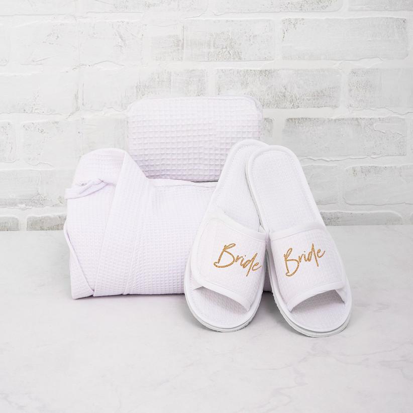 White Bride waffle slippers