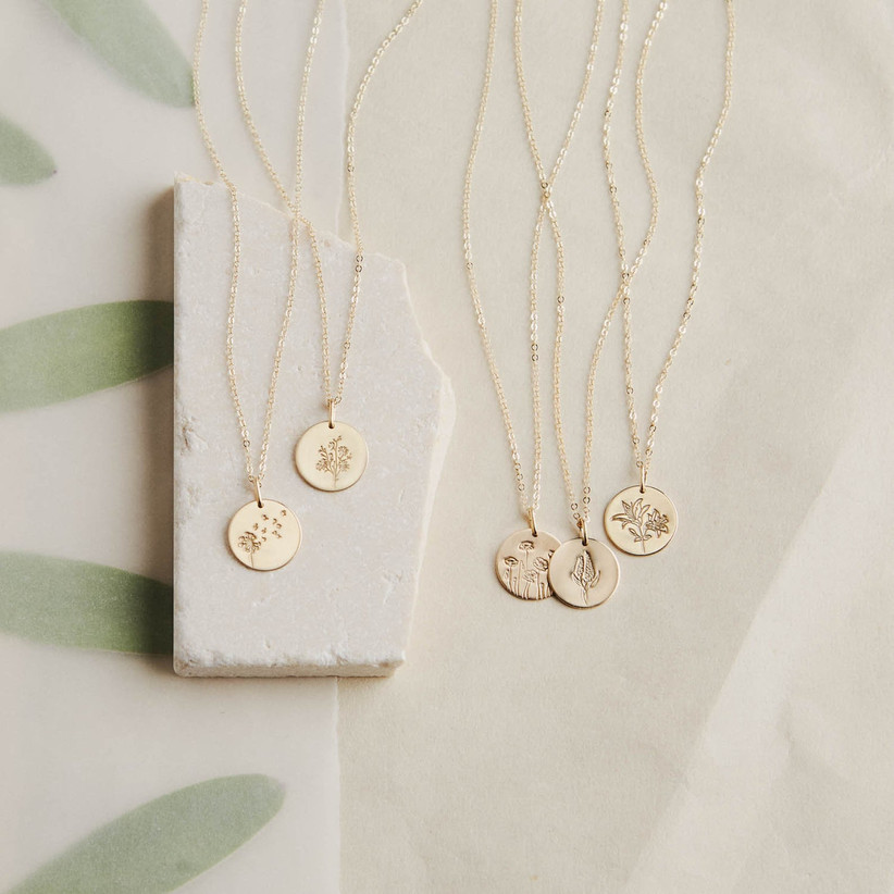 gold flower necklace for 12th year wedding anniversary gift
