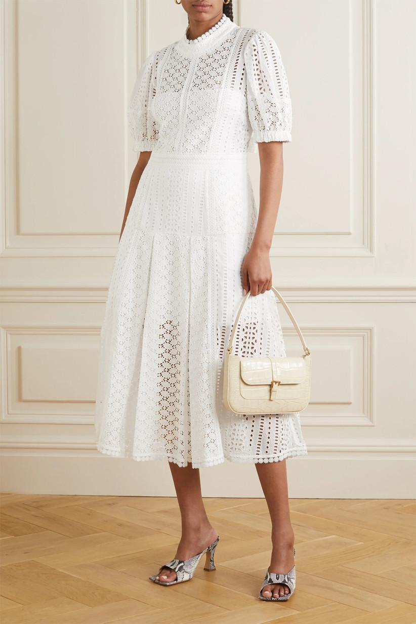 White cotton summer rehearsal dinner dress for bride