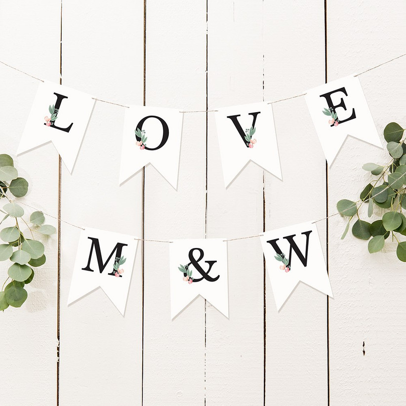 LOVE and initials bunting engagement party decoration idea