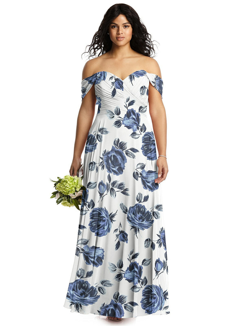 Model wearing off-the-shoulder bridesmaid dress with large blue floral pattern