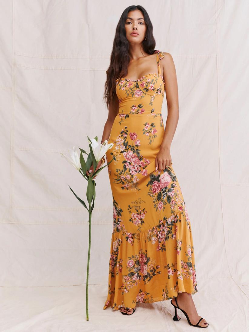 Floral marigold maxi fall wedding guest dress