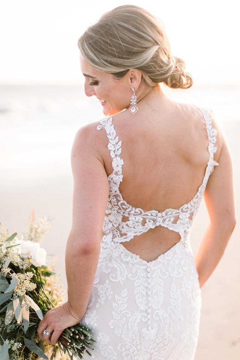 classic beach wedding hairstyle low chignon