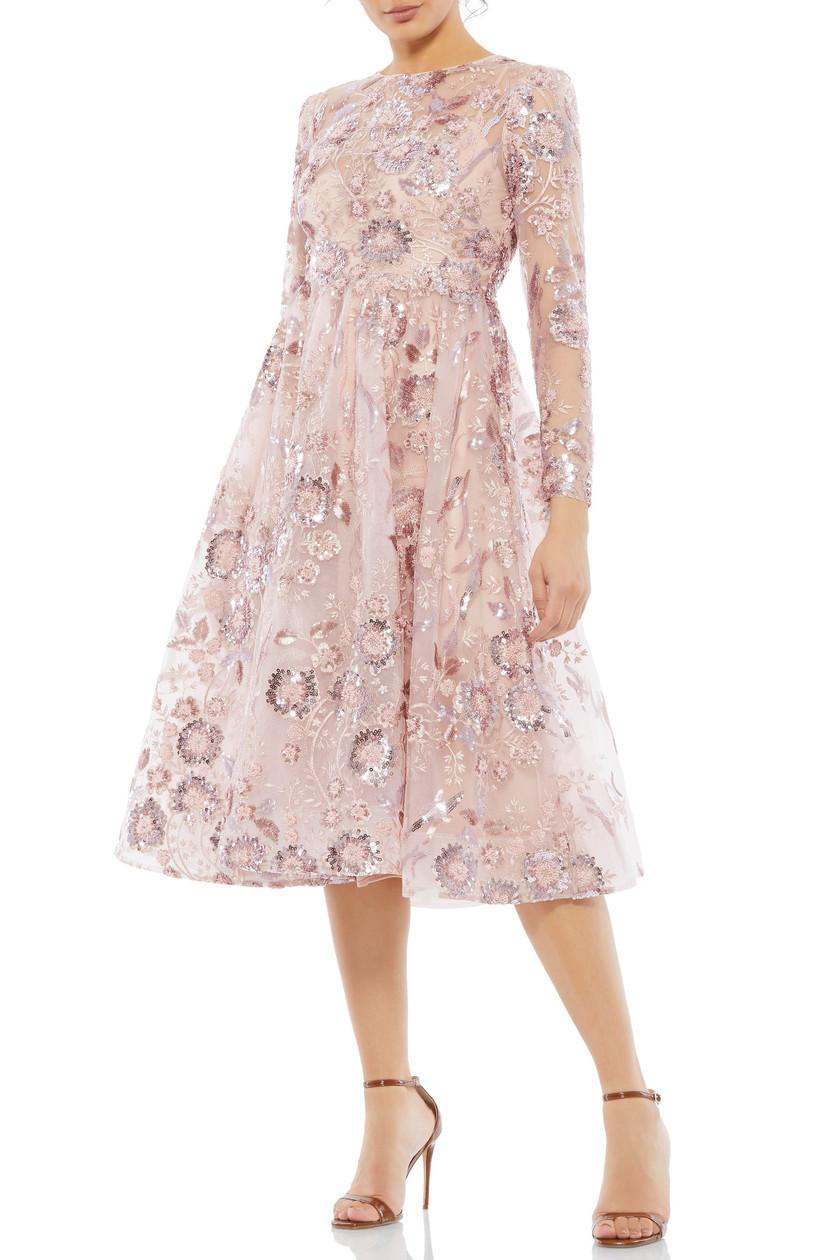 Formal long-sleeve dress pink flowers