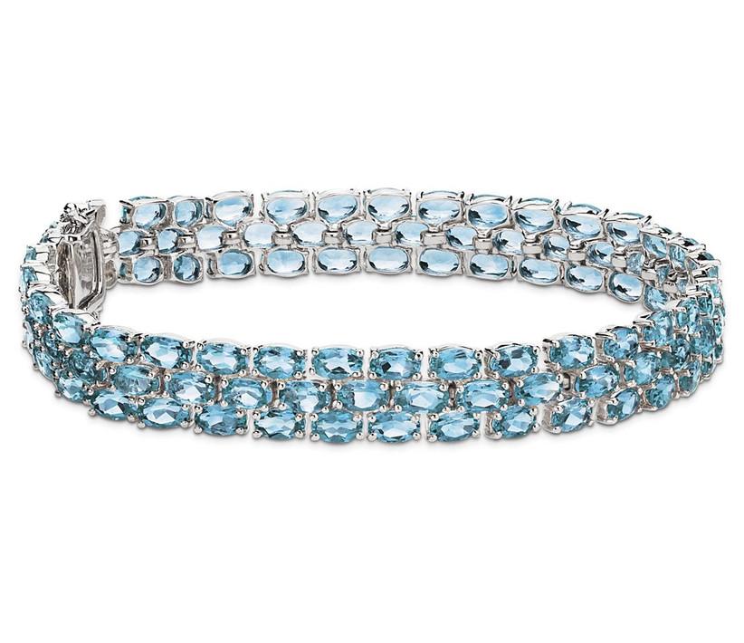three strand blue topaz bracelet