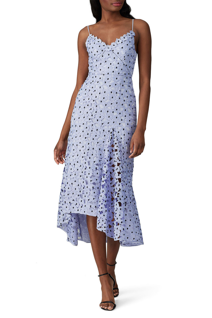 Light blue lacy asymmetrical midi with floral design