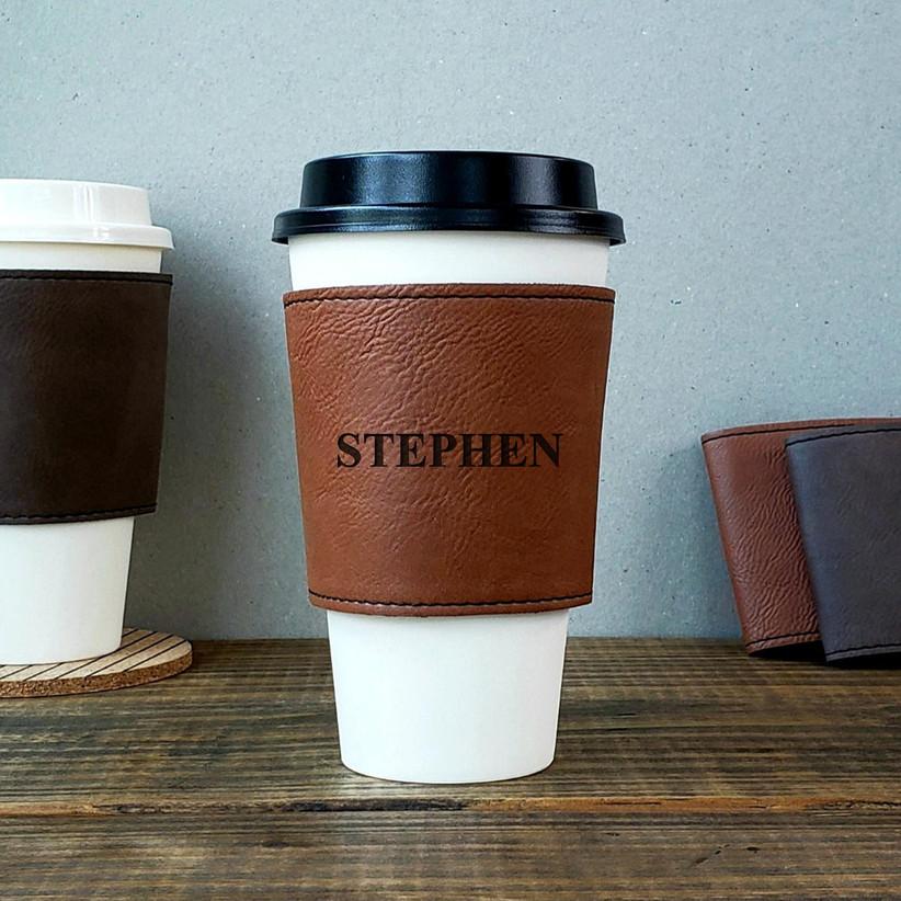 Personalized leather coffee sleeve groomsmen gift idea