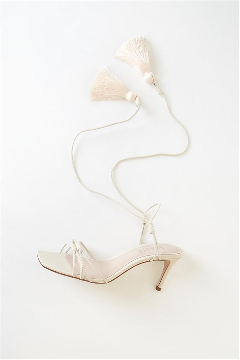 modern trendy beach wedding sandal white high heel with ankle ties and tassels