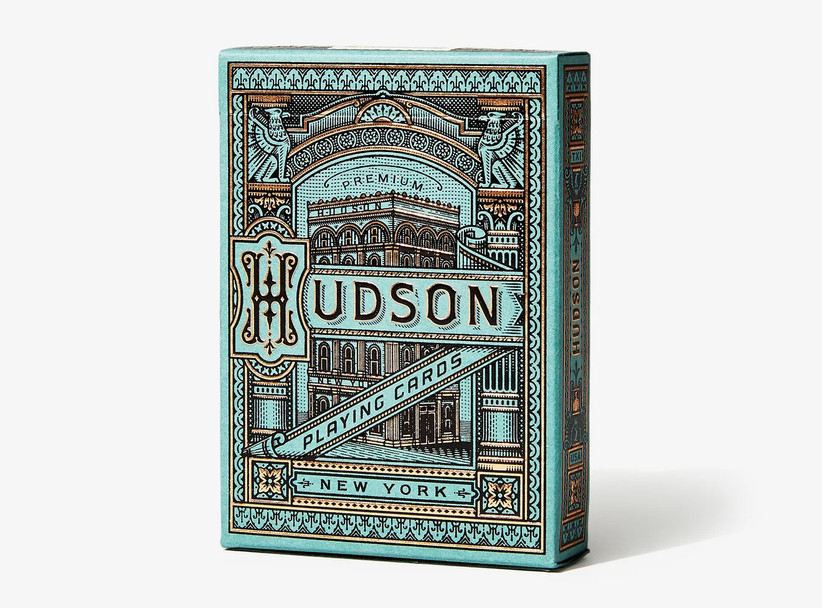 Box of premium playing cards inspired by 19th century factory on the Hudson
