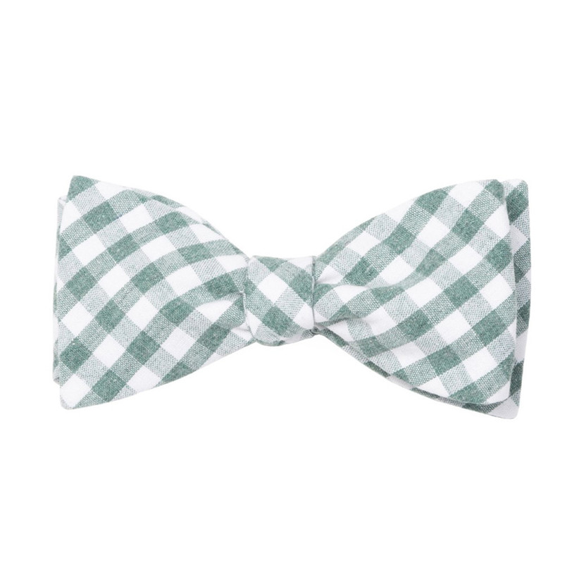 green gingham wedding bow tie