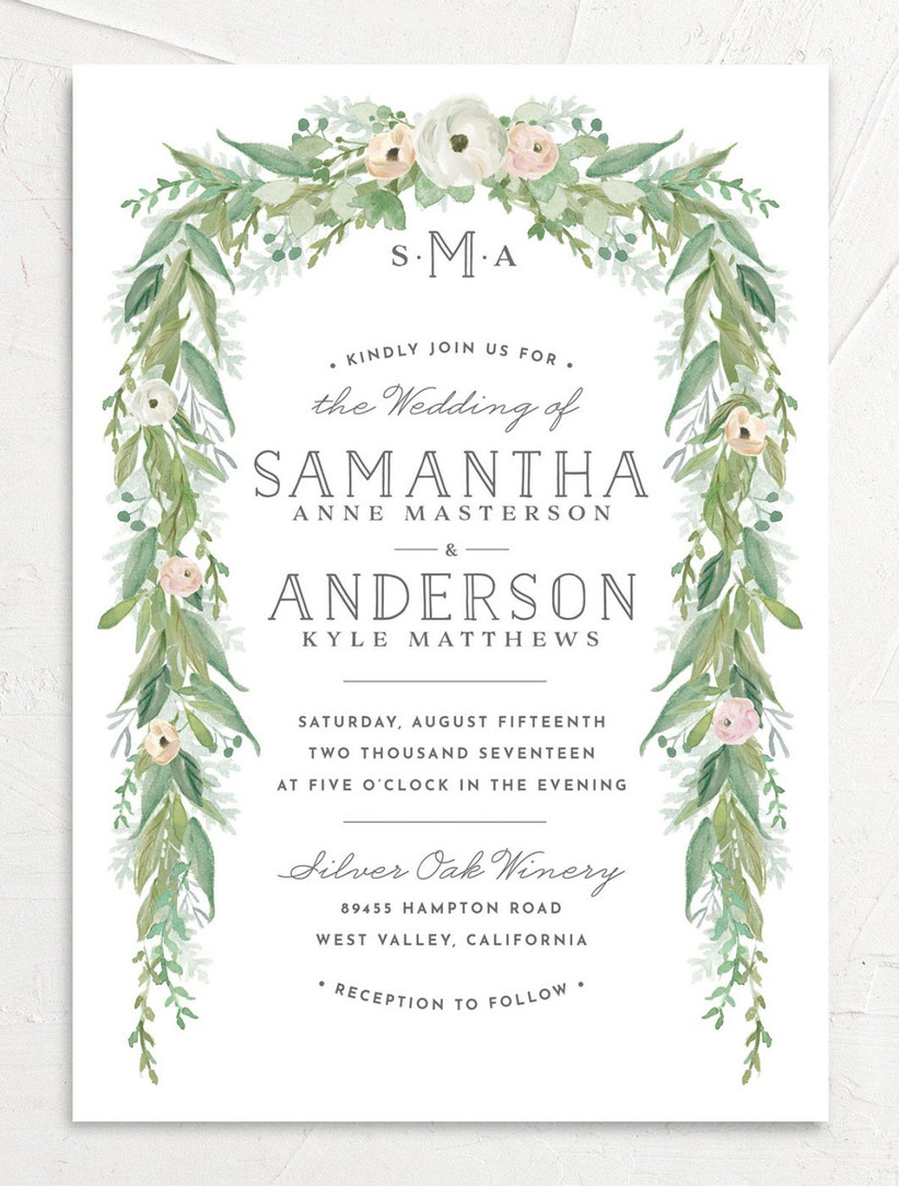 romantic summer wedding invitation with blush pink and greenery flower border