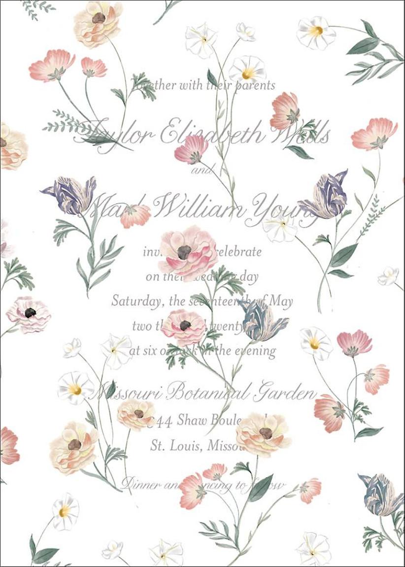 elegant spring wedding invitation by monique lhuillier with vellum floral overlay