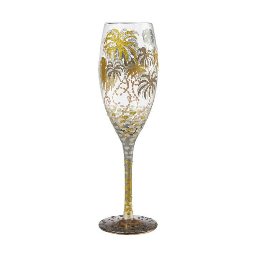 Hand-painted fireworks champagne flute