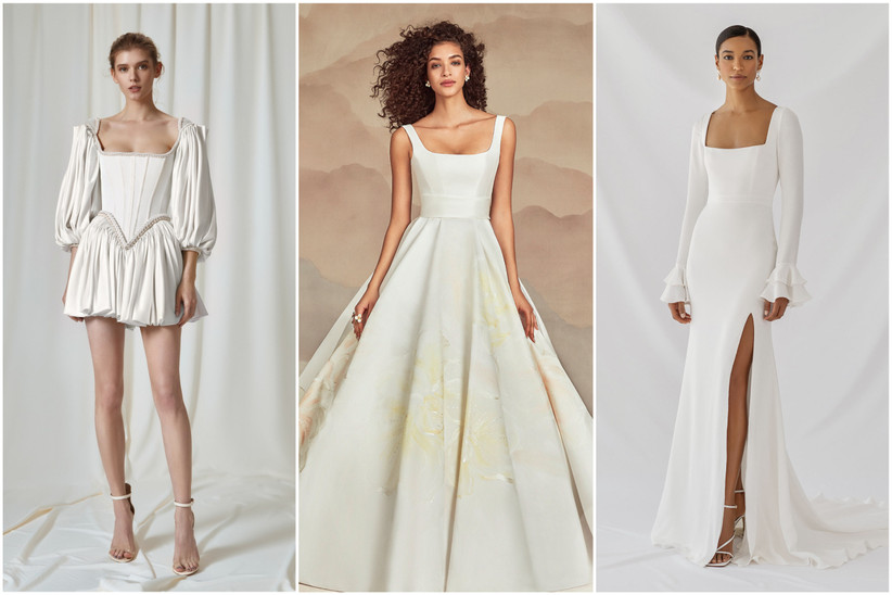 image collage of 2022 wedding dresses with square necklines