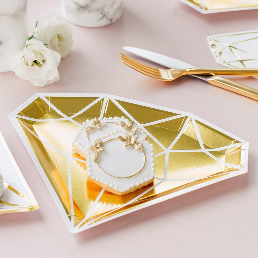 Gold diamond paper plates engagement party table decoration
