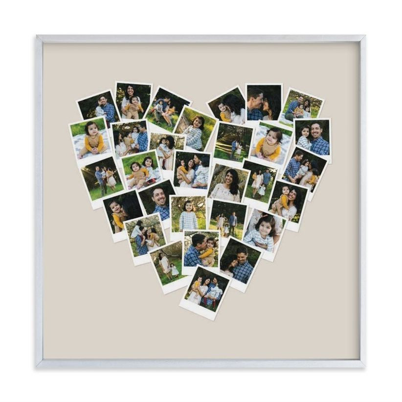 Framed heart-shaped collage of family photos