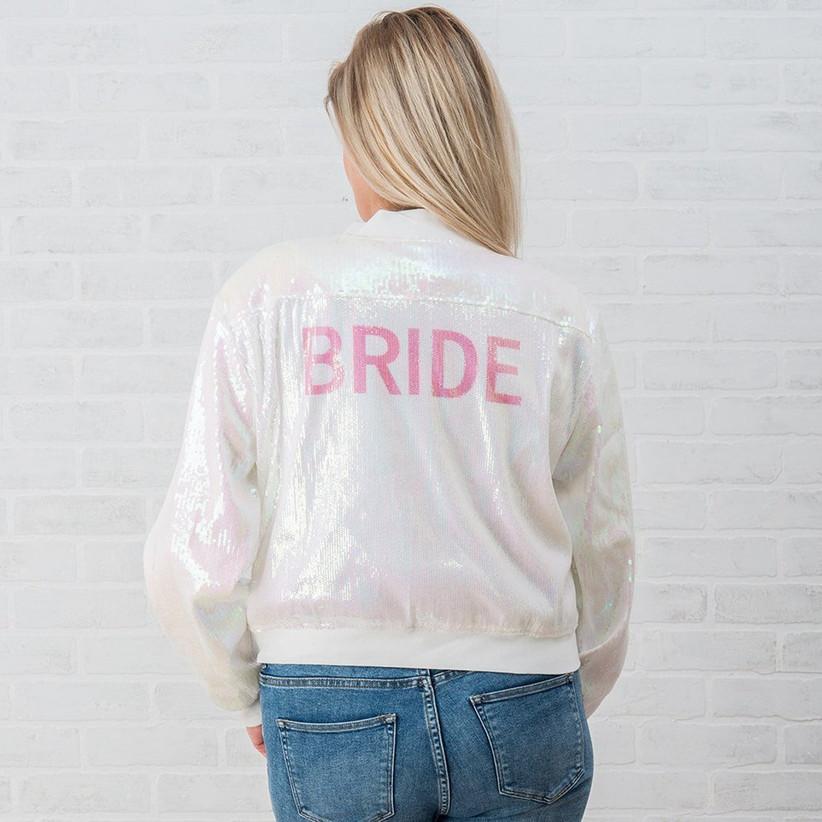 iridescent sequin bride jacket with