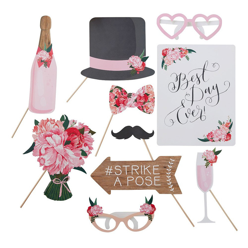 floral wedding photo booth props