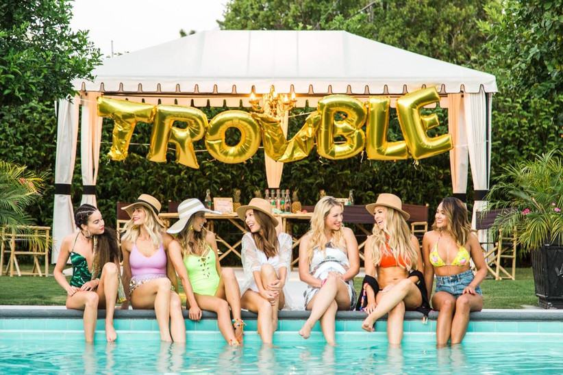 bachelorette party with trouble balloons