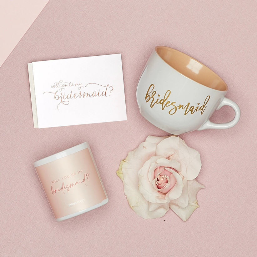 Bridesmaid proposal gift set including white and gold Bridesmaid mug, Will You Be My Bridesmaid candle, and Will You Be My Bridesmaid card
