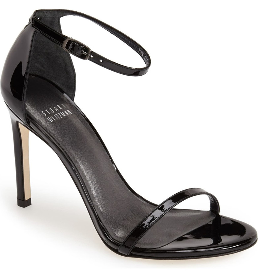Wedding Guest Shoes skinny strap patent leather heels