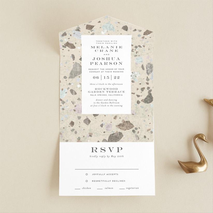 unique terazzo winter wedding invitations