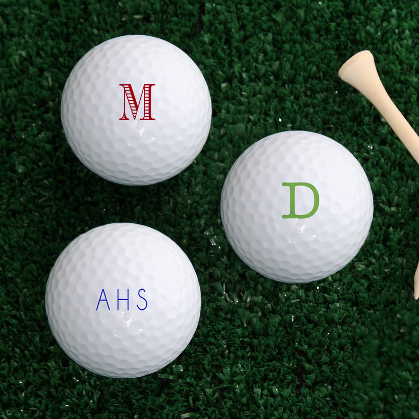 Golf balls personalized with monogram and initials father of the groom gift idea