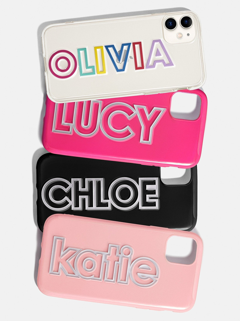Personalized phone cases in different colors bridesmaid gift idea