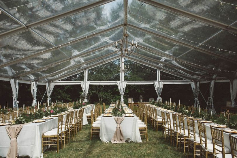 clear tent over dinner tables