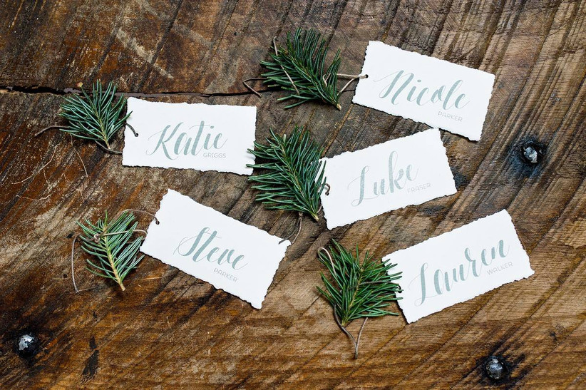 greenery wedding place cards