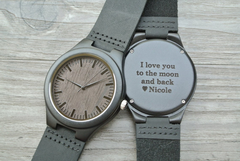 Simple wooden engagement watch with custom engraving on the back
