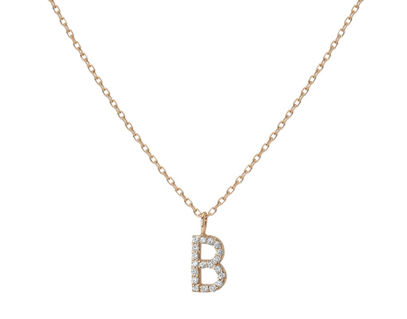 Initial pendant necklace with white diamonds and gold chain