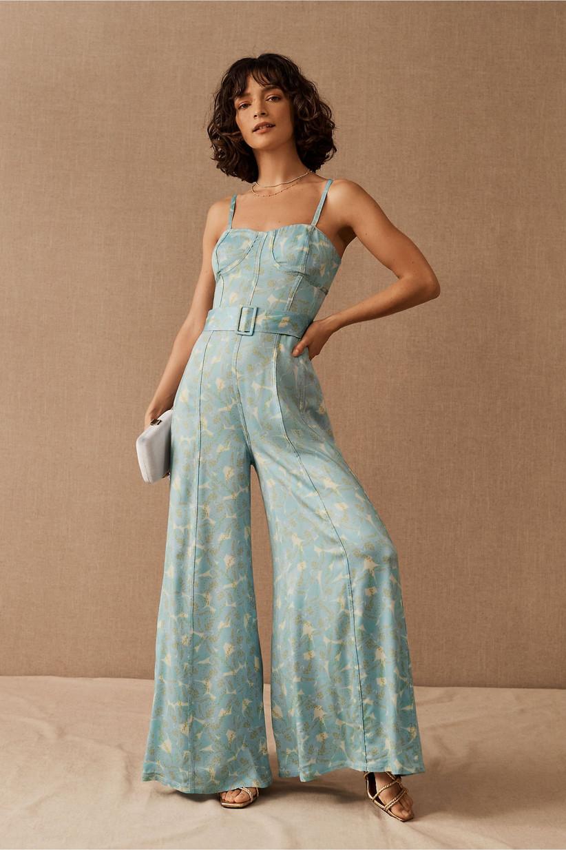 Retro light blue corset bodice jumpsuit