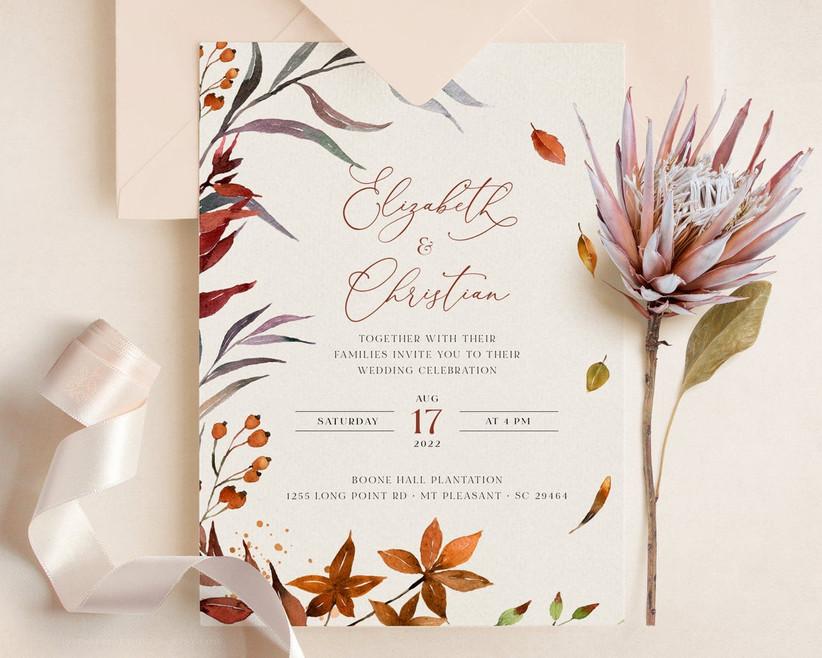 colorful fall wedding invitation