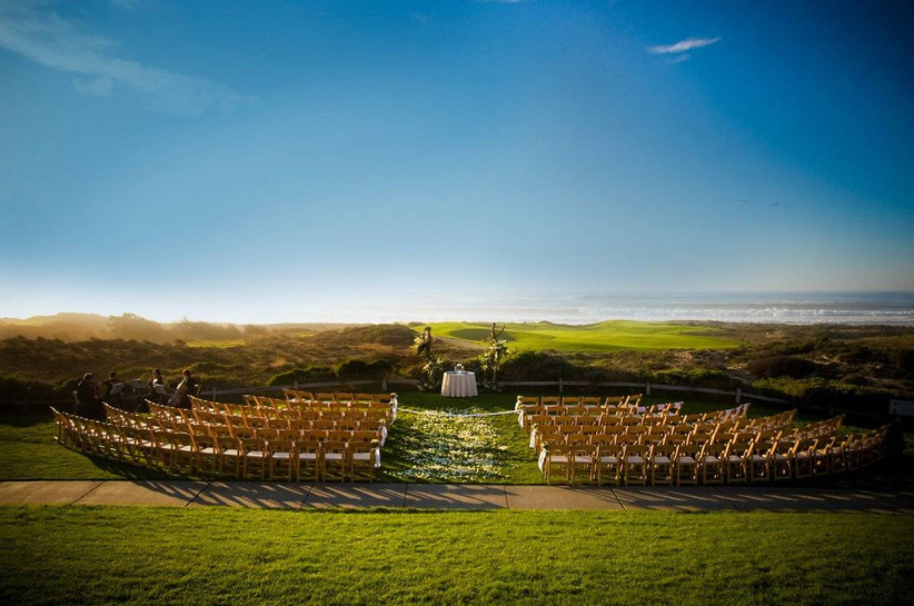 outdoor wedding ceremony at pebble beach overlooking 17 mile drive carmel california