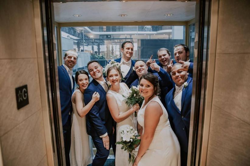 wedding guests in elevator