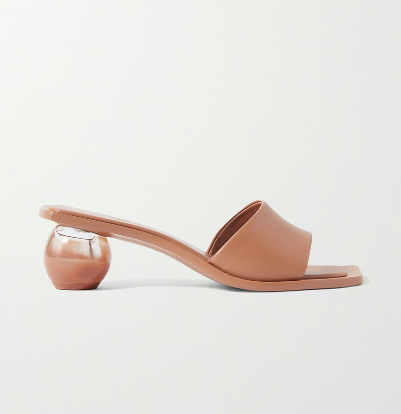 modern trendy beach wedding sandal open-toe slide with spherical heel