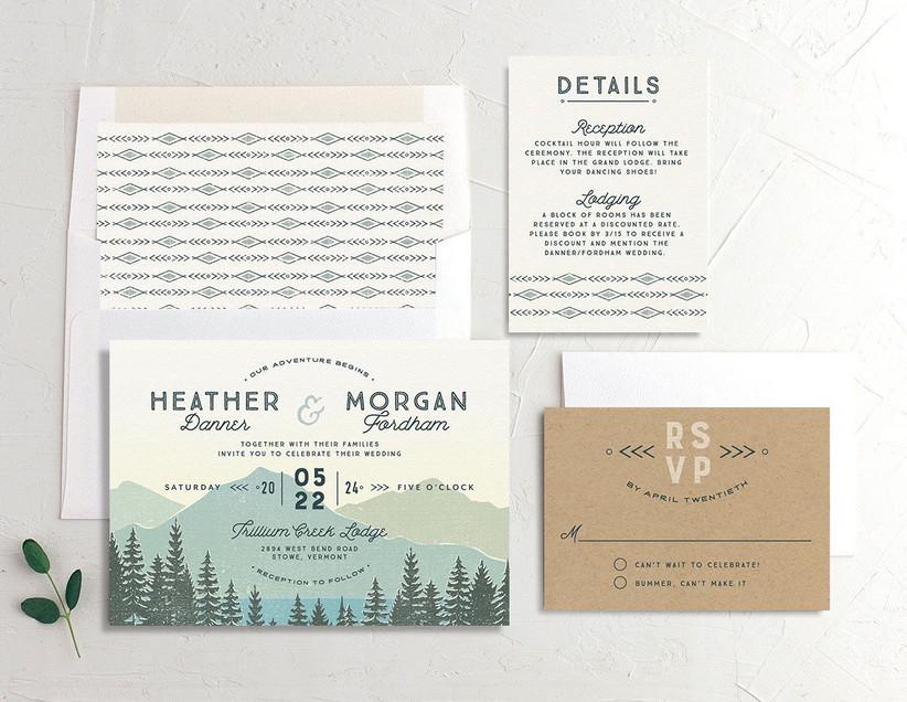 Rustic nature scene WeddingWire Invitations invitation suite
