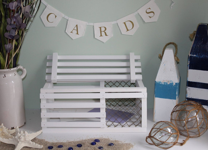 nautical beach-themed wedding card box made from wooden lobster crate