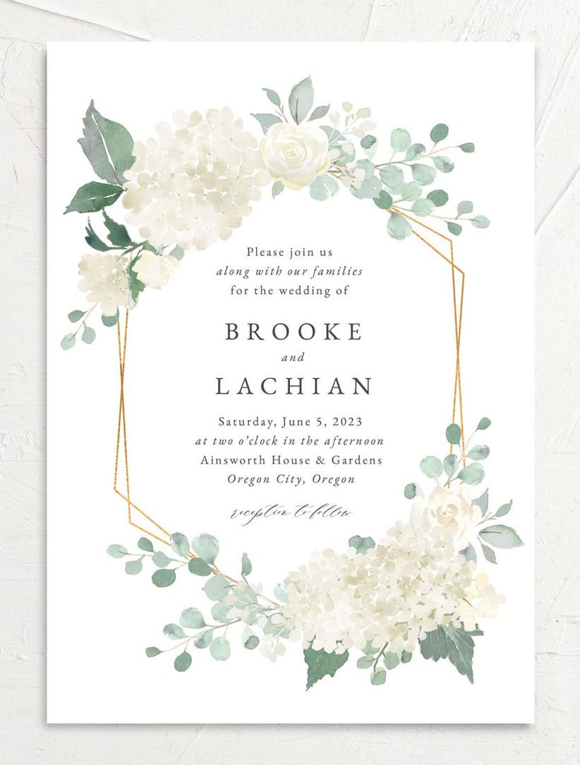 elegant summer wedding invitation with white hydrangea and gold geometric border
