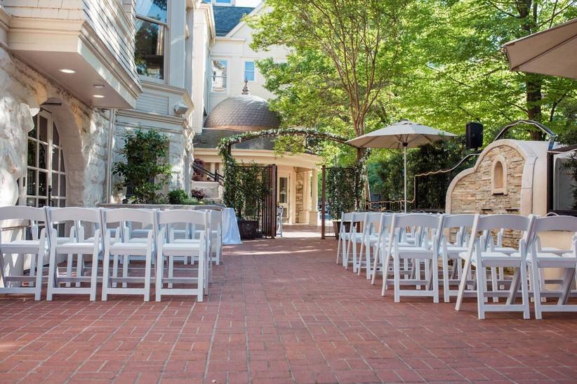 outdoor patio wedding ceremony