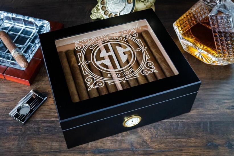 Personalized humidor groomsmen proposal gift