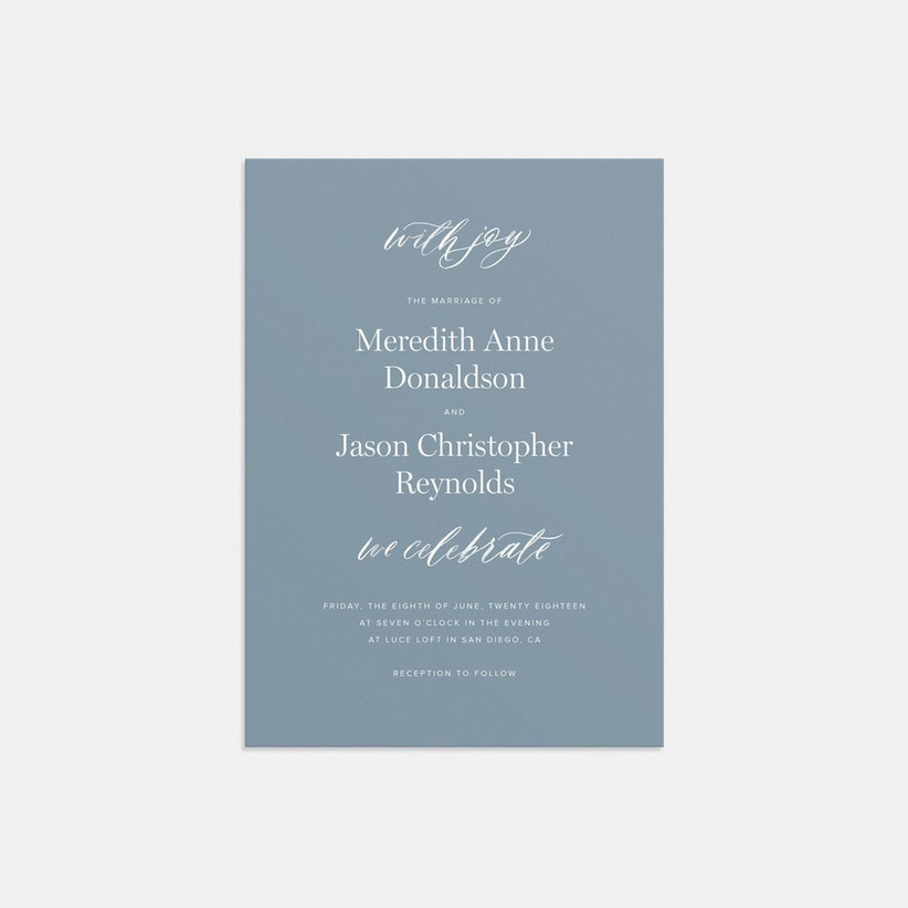 modern blue spring wedding invitations with white calligraphy