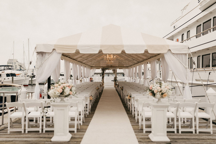 waterfront ceremony at rhode island wedding venue on a dock at yacht marina