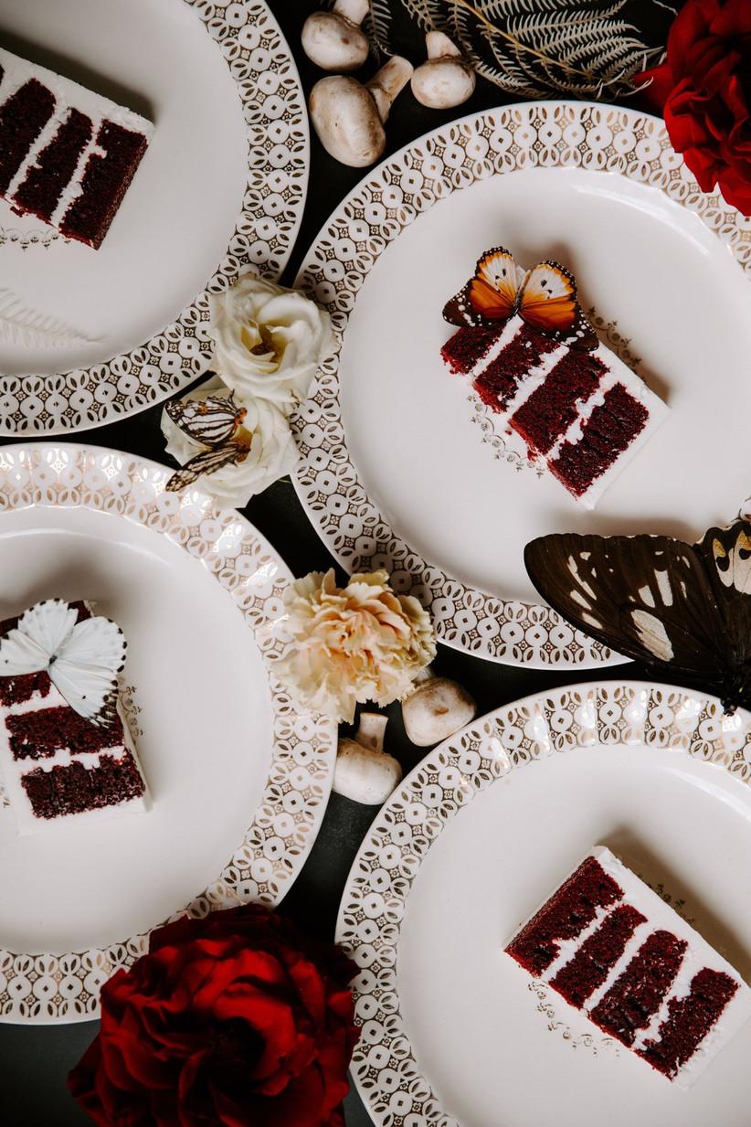 slices of red velvet cake on plates