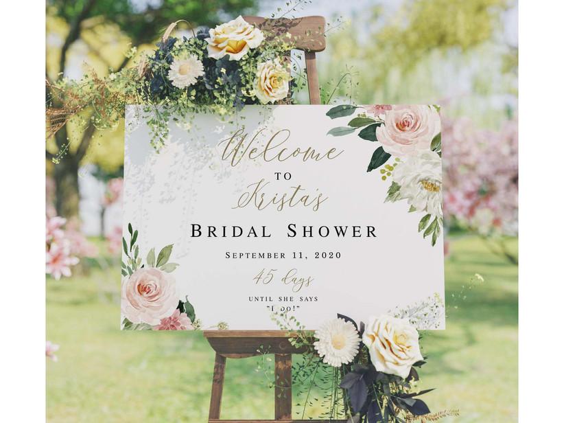 floral bridal shower sign