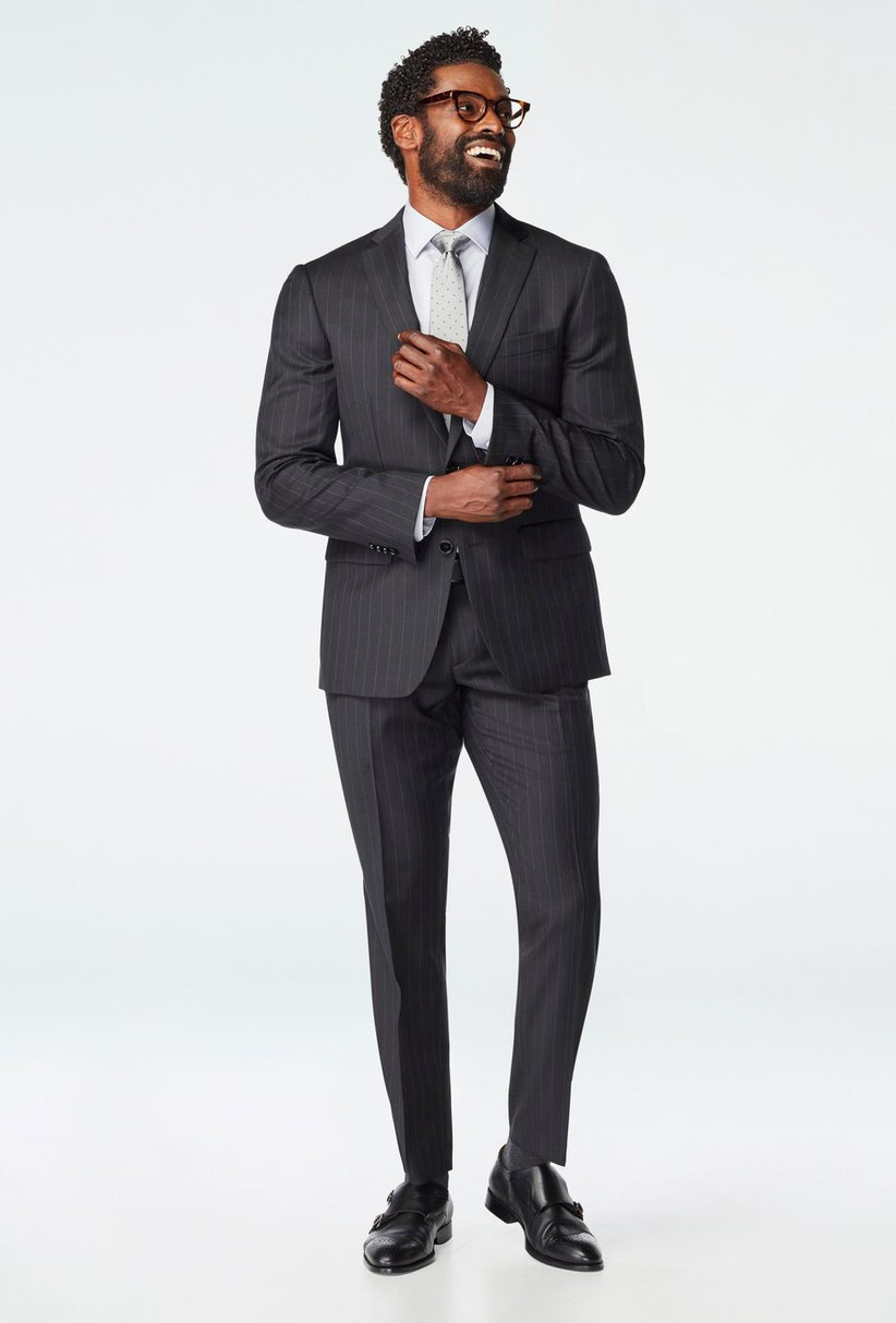 Sophisticated rehearsal dinner suit for guest