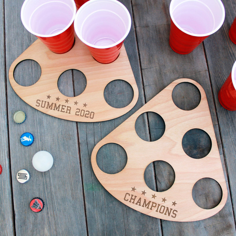 wooden beer pong tray