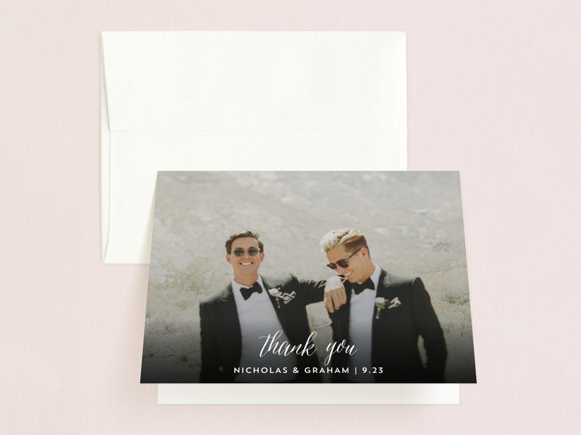 Custom photo thank you card for wedding vendors and guests