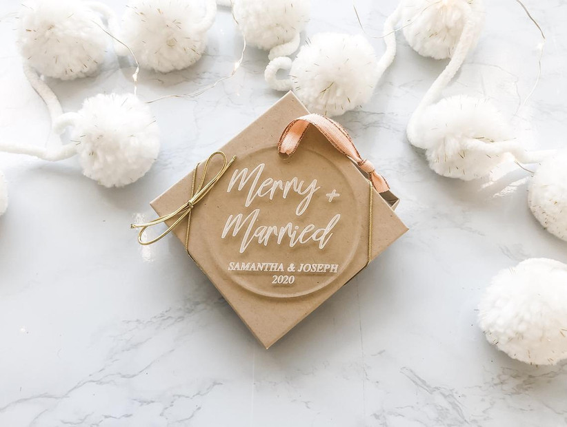 merry & married wedding christmas ornament
